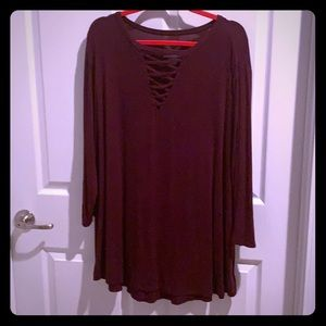 Maroon long sleeved super soft Maurice's top!